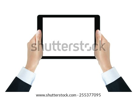Businessman hands holding tablet pc with blank isolated screen