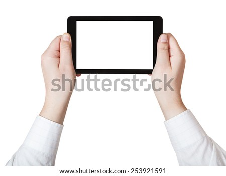 businessman hands holding tablet pc with cut out screen isolated on white background - stock photo