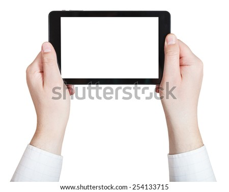 businessman hands holding touchpad with cut out screen isolated on white background - stock photo
