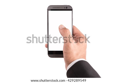 businessman hands using tablet pc with white screen, isolated - stock photo