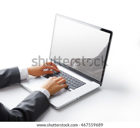Businessman hands working on the laptop