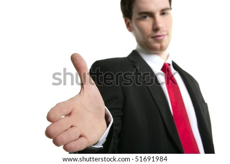businessman handshake open hand positive over white background - stock photo