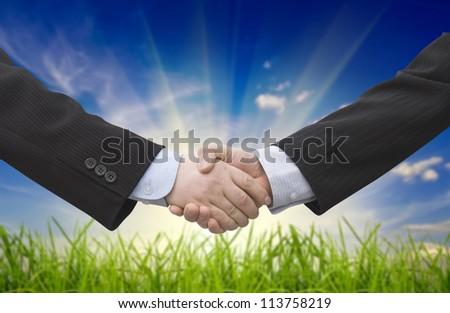 Businessman handshake teamwork partners shaking hands - stock photo