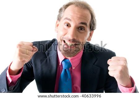 Businessman handshaking on white background. - stock photo