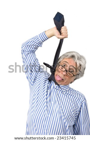 Businessman hanging himself with his necktie - stock photo