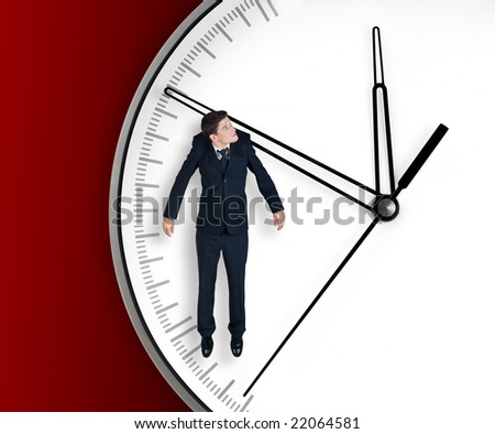 Businessman hangs on an arrow of clock, isolated on red background - stock photo