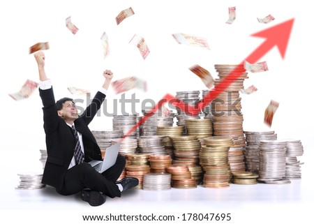 Businessman happiness after keep his money with his business - stock photo