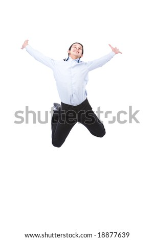 businessman happy and jumping very high on white