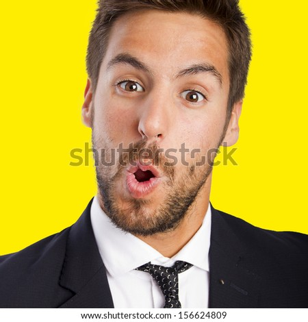 businessman happy and surprised - stock photo