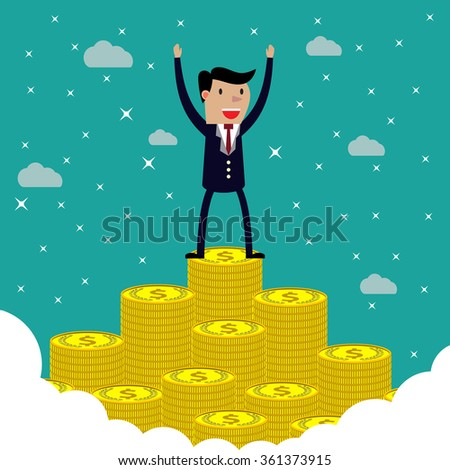businessman happy standing on the huge money staircase. illustration in flat design on green backgound,  Raster version - stock photo