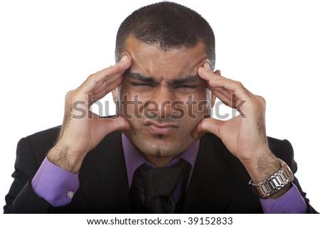 Businessman has headache because of stress - stock photo