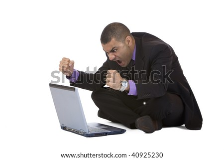 Businessman has stress because of computer problem. Isolated on white. Complete digital workflow. - stock photo