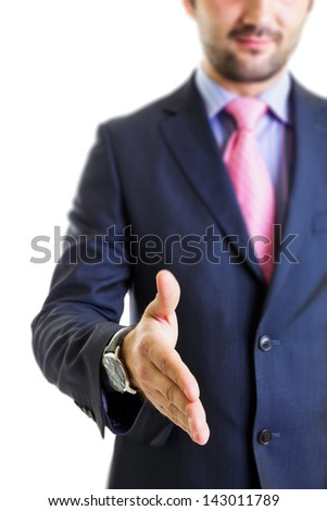 Businessman having a deal isolated on white.Focus on finger-tips. - stock photo