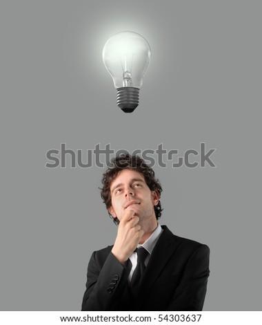 Businessman having an idea - stock photo