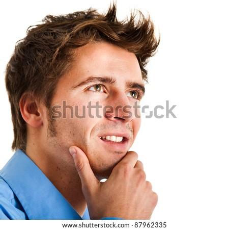 Businessman having an idea isolated on white - stock photo