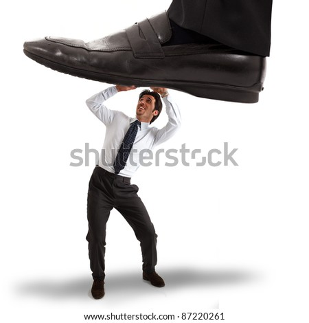 Businessman having an unexpected problem - stock photo