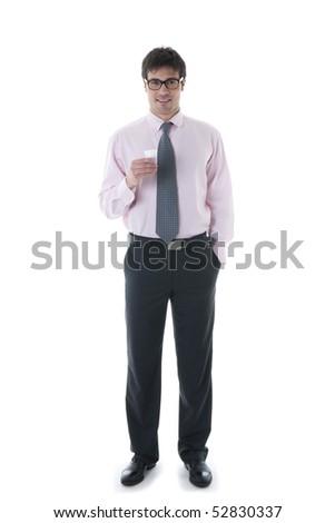 Businessman having coffee break - stock photo