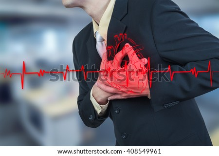 businessman having heart attack,insurance concept - stock photo
