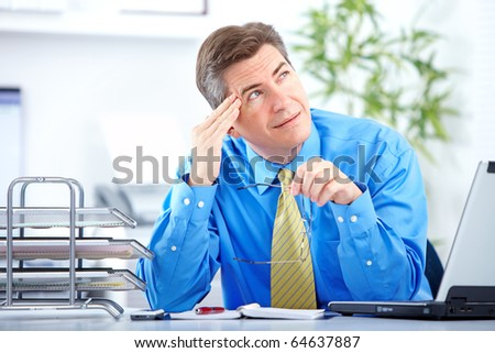 businessman  having stress in the office - stock photo