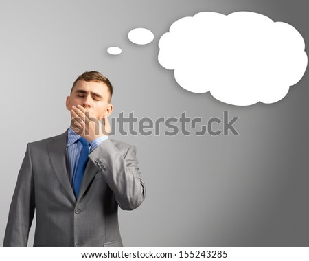 businessman, head over to the cloud of thoughts, place for text