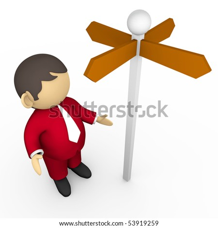 businessman heading a crossroad with directional sign. isolated over white - stock photo