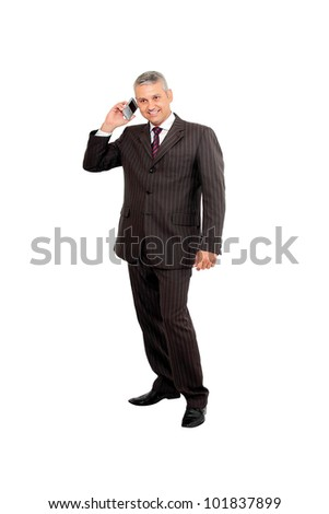 Businessman hearing a smart phone isolated on white background