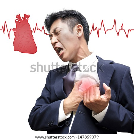 Businessman Heart Attack in Isolated - stock photo