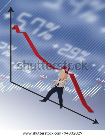 Businessman hit by recession concept with man knocked over by diagram - stock photo