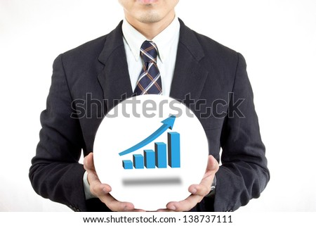Businessman hold ball with his business in your hand - stock photo