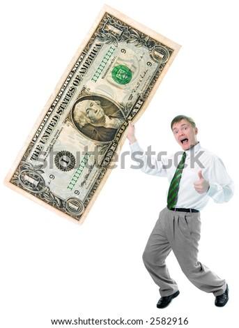businessman hold big size us dollar on white background - stock photo