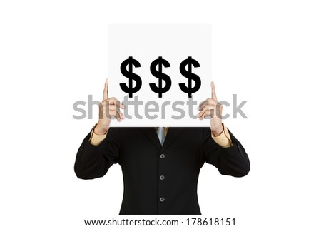 Businessman hold board with money sign isolated on white background - stock photo