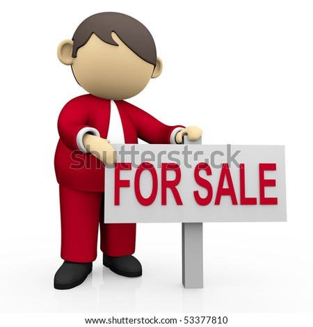 Businessman hold for sale signboard