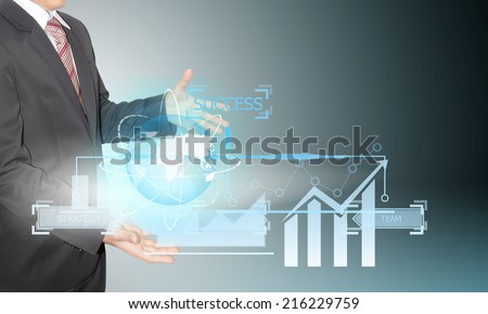businessman hold graph by future technology