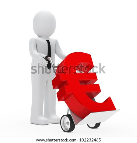 businessman hold hand truck with red euro - stock photo