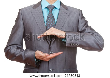 businessman hold hands isolated over white background - stock photo