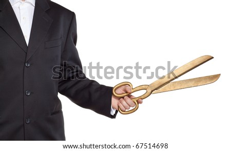 Businessman hold scissors isolated on white - stock photo