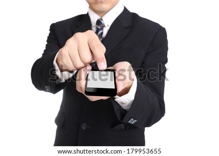 Businessman hold smartphone use to communicate someone with clipping path