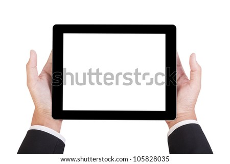 businessman hold tablet in his hand isolate on white with clipping path