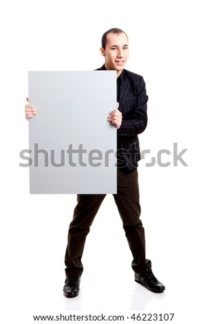 Businessman holding a blank billboard, isolated on white background - stock photo