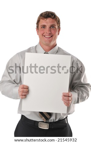 Businessman holding a blank sign isolated against a white background