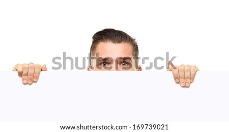 businessman holding a blank white card board, signboard, showing an empty bill board, handsome young business man, isolated over white background