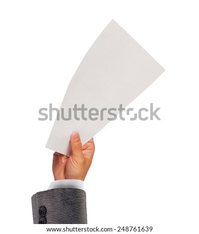 Businessman holding a blank white paper - stock photo