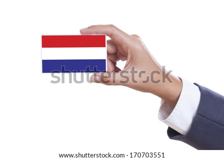 Businessman holding a business card with Dutch Flag
