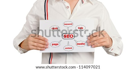 businessman holding a chart of seo - stock photo