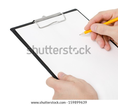 Businessman holding a clipboard and write on it, isolated on white background - stock photo