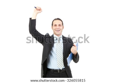 businessman holding a clipboard isolated on white background