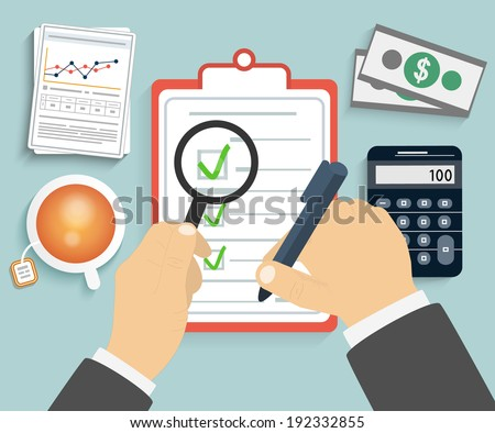 Businessman holding a clipboard, magnifying glass and writing signature. Raster version - stock photo