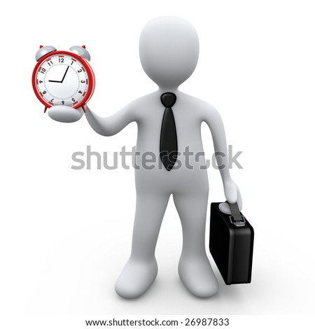 Businessman Holding A Clock - stock photo