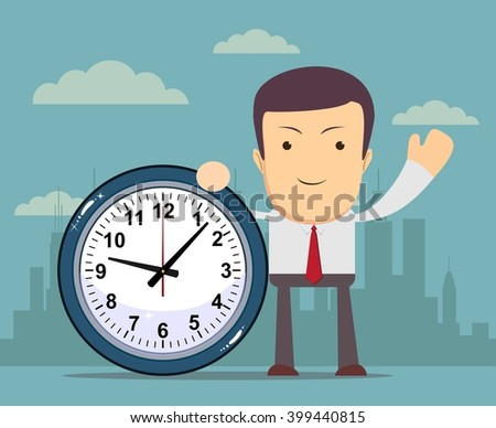 Businessman holding a clock which showing how much time is left. Stock illustration - stock photo