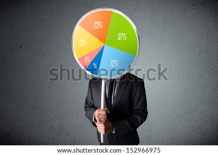Businessman holding a colorful pie chart in front of his head - stock photo
